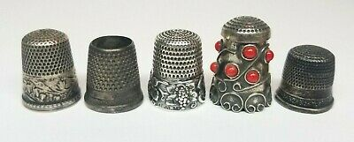 Antique & Vintage STERLING SILVER Sewing Thimbles Lot, Grapes, Ari Norman