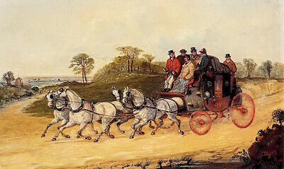 Dream-art Oil painting henry alken - mail coaches on an open road horse carriage