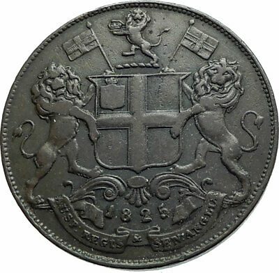 1840 MADRAS / CHENNAI INDIAN COLONY of ANGOLA Antique Genuine 4 Pies Coin i79483