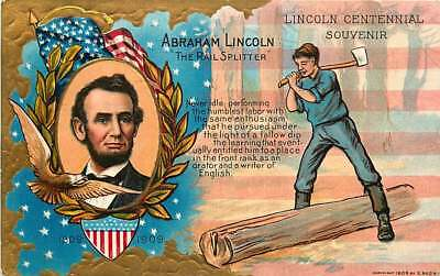 Embossed Postcard Abraham Lincoln Centennial - Lincoln's Birthday Series 1
