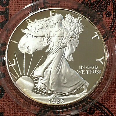 1986  $1 U.S. Proof Silver American Eagle Coin 1 Troy Ounce .999  (in capsule)