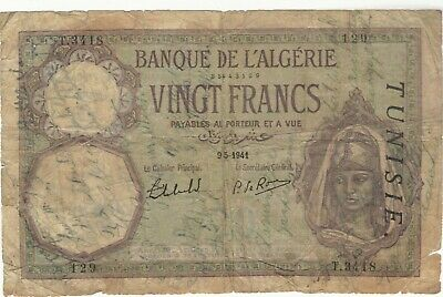 1941 20 Francs Tunisia Currency Banknote Note Money Bank Bill Cash Africa Wwii