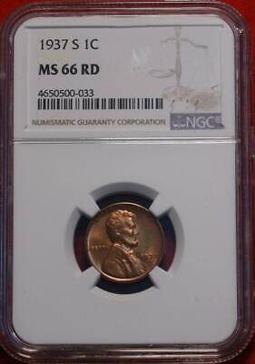 1937-S San Francisco Mint Copper Lincoln Wheat Cent NGC Graded MS 66 RD