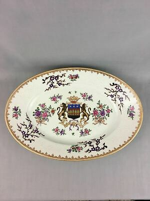 Antique 19th C. Chinese Export Style Porcelain Armorial Large Oval Plate Samson