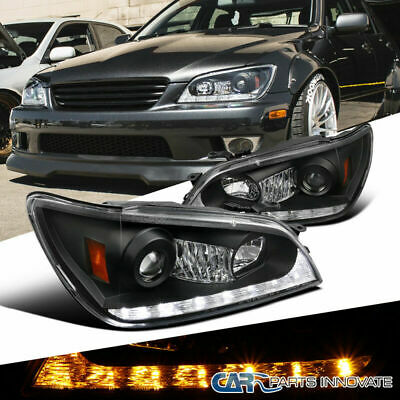 For 01-05 Lexus IS300 Black Integrated LED+Signal Projector Headlights Pair