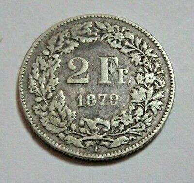 1879 - Silver Two Francs Coin - Switzerland