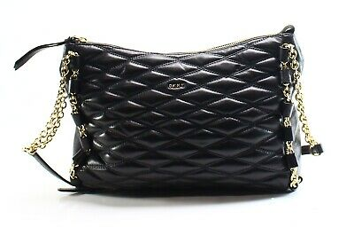 b8892d4b4485ce DKNY Black Quilted Leather Lara Top Zip Small Crossbody Bag Purse $298- #034