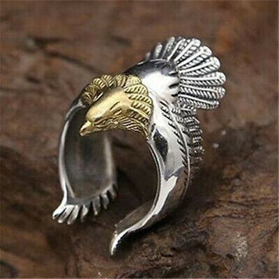 Men's Retro Adjustable Stainless Steel Ring Punk Eagle Bird Wing Open Band Rings