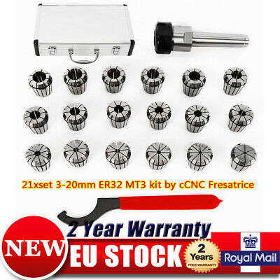 For CNC MILLING MACHINE MANDREL Collet MT3-ER32 Shank chuck 3-20mm + Storage Box
