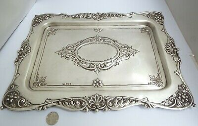Stunning Large Heavy Decorative English Antique 1908 Solid Sterling Silver Tray