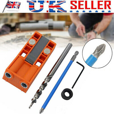 Mini Pocket Hole Jig Kit w/ Step Drill Bit Kreg Style Woodworking Joint Tool RBU
