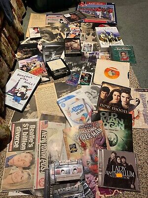 Awesome Junk Drawer Lot Music Movies Comic Books Vinyl Beatles Red Sox Elvis NBA