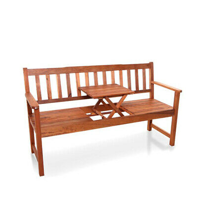 BillyOh Windsor Hardwood Acacia 3 Seater Garden Wooden Bench with Pop Up Table