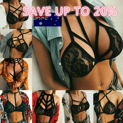 Lady Sexy Bra Belt Lingerie Cage Bandage Harness Lace Push Up Crop Top Bralette