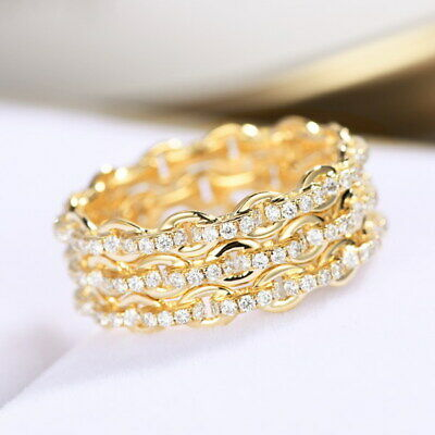 0.95Ct 100% Natural Diamond 14K Gold Full Eternity Band Buckle Ring R112