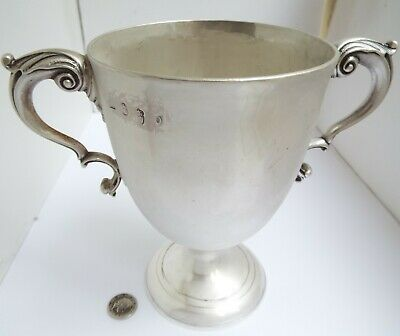 Large Rare Heavy Irish Antique Dublin 1786 Solid Sterling Silver Trophy Goblet