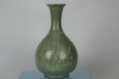 Fine Large Antique Korean Early Joseon Dynasty Hand-painted Celadon Vase