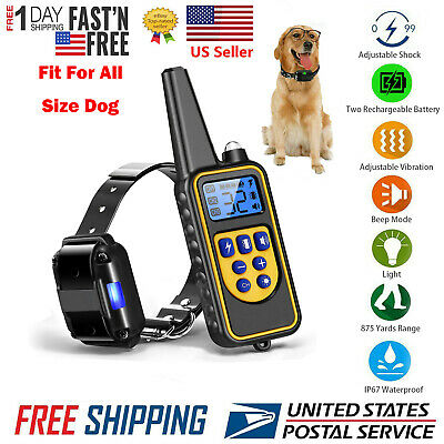 Electric Dog Shock Collar With Remote Waterproof for Large 875 Yard Pet Training