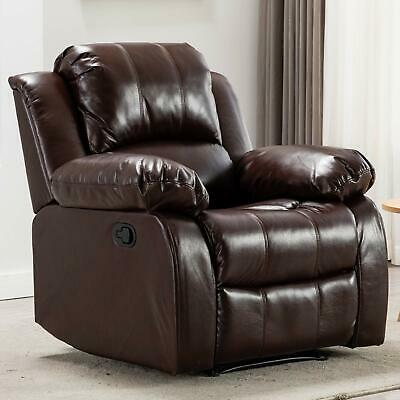 Leather Manual Recliner Chair Lounge Sofa Arm Chair Living Room Bedroom Brown