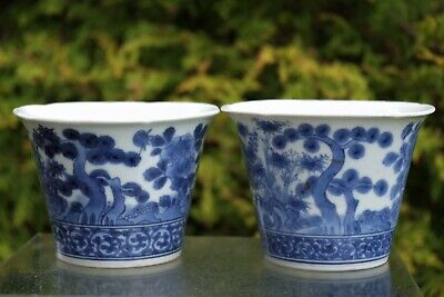 Two Beautiful Antique Chinese Blue and White Handpainted Bowls/Cups - with mark