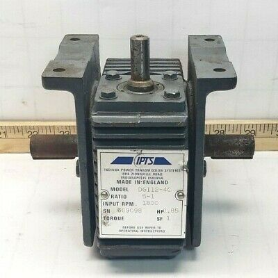 Indiana Power Transmission Gear Reducer 5:1 Ratio 0.85 Hp 1800 Rpm Dg112-4C