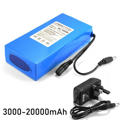 DC12V 3000-20000mAh Rechargeable Li-ion Lithium Battery Pack + Charger UK PLUG