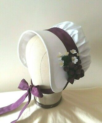 Regency Bonnet. Jane Austen. 100% SILK. Ivory/Plum. Reenactment Quality