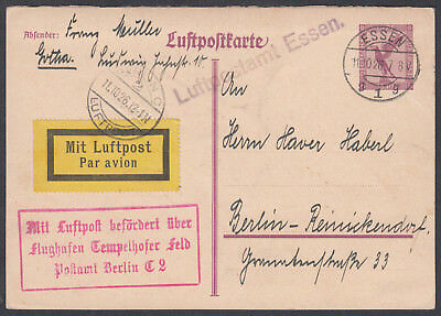 1926 Germany early Airmail Postcard, Essen to Berlin; Cachets