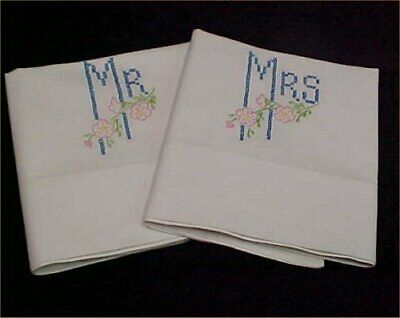 Vintage Pillowcases Hand Embroidered Mr Mrs Floral 1940s Era Antique Find
