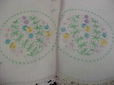 Vintage Pillowcases Hand Embroidered Flowers Foliage Dainty 1940s Era Antique
