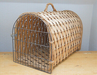 Vintage Wicker Pet Carry Basket Crate - 50cm Long - Cat or Small Dog -