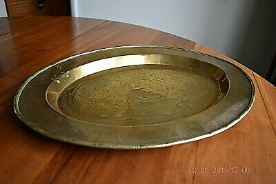 Antique 19Th Century Oval Brass Chinese Tray With Chinese Designs And Symbols.