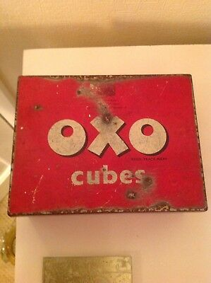 Vintage Original 1940S Large Square Oxo Tin