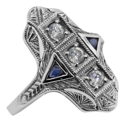 Art Deco Style Filigree Ring White Topaz Sapphire Accents Sterling Silver