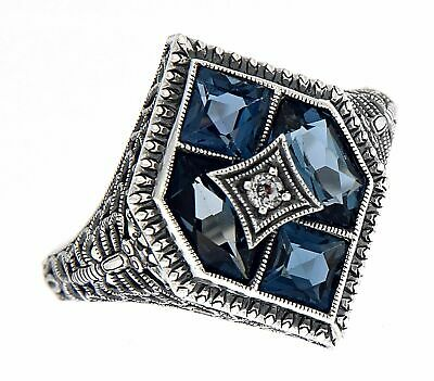 Art Deco Style Filigree Ring w/ London Blue White Topaz - Sterling Silver