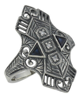 Art Deco Style Filigree Ring w/ Sapphires / 3 White Topaz - Sterling Silver