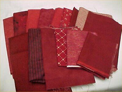 Mix Lot Vintage Cotton Quilt Fabric Shades of RED Quilters Material Sew Estate