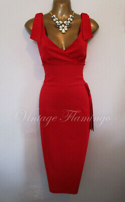 Diva Catwalk 50s Couture Style Red Wiggle Pinup Pencil Bombshell Dita Dress UK12