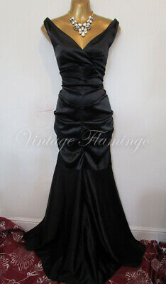 Xscape 50s Style Black Satin Diva Wiggle Pinup Bombshell Prom Maxi Dress UK12