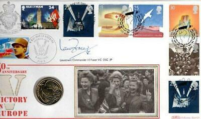 BENHAM VE DAY  FDC 8-5-95 with £2 COIN SIGNED LEN FRASER VC + CITATION F14