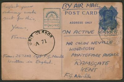 Burma 1945 KGVI 6p Japanese Occupation Postcard Used post-occ w FPO 82 Postmark