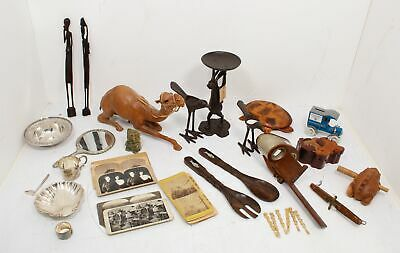 Vintage & ATQ Assorted Collectable Junk Drawer Photo Cards Viewer Carved Wood