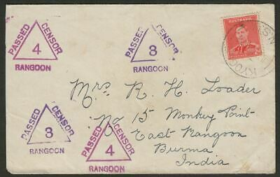 Australia 1939 KGVI 2d Used on Multi Censor Mark Cover KYOGLE to Rangoon, Burma