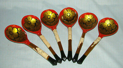 """6 ~ Russian Khokhloma Lacquer 8-1/4"""" Red-Black-Gold SPOONS - Never Used w/Labels"""