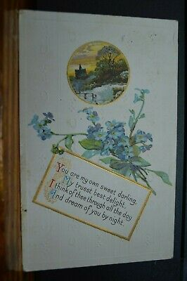 Forget Me Not Flowers Bucolic Scene Love Poem 1911 Embossed Postcard