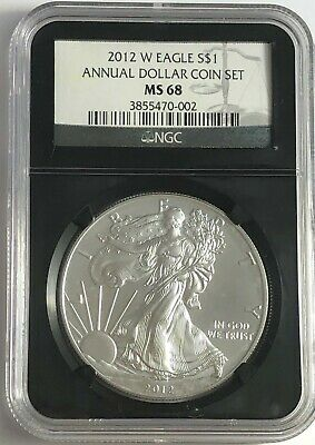 2012 W Ngc Ms68 Burnished Silver American Eagle Annual Dollar Coin Set Retro