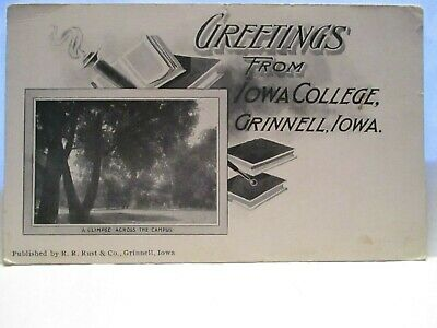 """1900 Rust Co Postcard """" Greetings From Iowa College, Grinnell Iowa """" Campus Unus"""