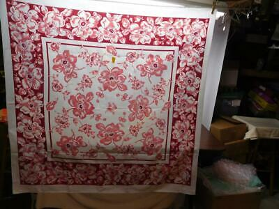 """VINTAGE LATE 40's LARGE MAGNOLIA FLORAL TABLECLOTH 50"""" X 50"""""""