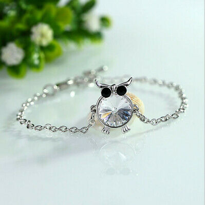Fashion Charm Women Owl Rhinestone Silver Plated Cuff Bracelet Bangle Jewelry B7