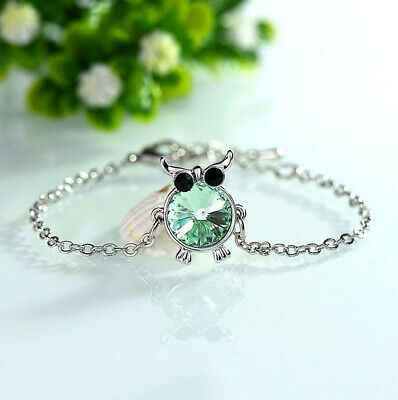 Fashion Charm Women Owl Rhinestone Silver Plated Cuff Bracelet Bangle Jewelry F6